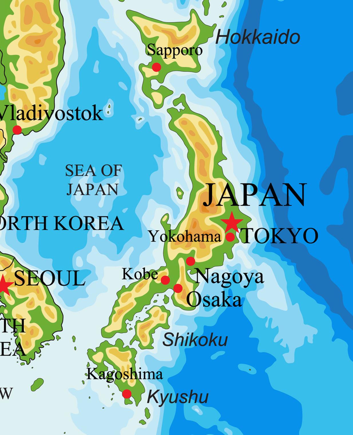 Cartina Del Giappone Politica.Giappone Cartina Fisico Politica